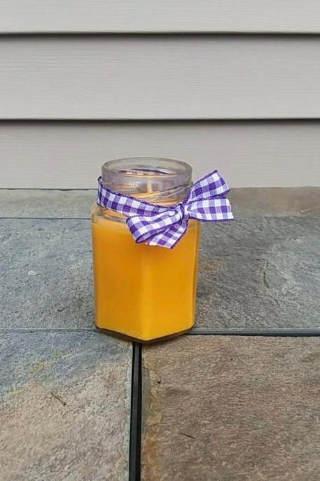 Lemon Scented Soy Candle-candles with wicks-lemon candles-yellow candles-essential oil-wax melts-mason jar candles-party favors-car candles