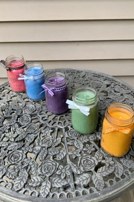 Rainbow Spectrum pint sized candles-soy candles-candles with wicks-mason jar candles-scented candles-spa scents-party favors-housewarming